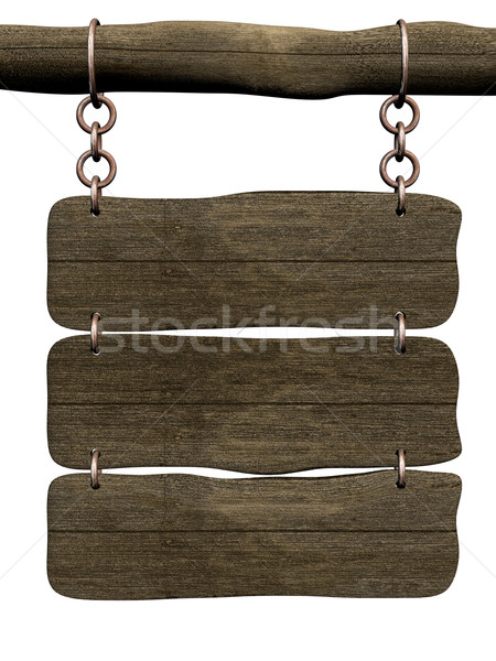 Old board hanging on a circuit. 3D image. Stock photo © ISerg