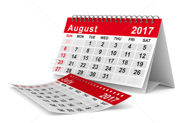 2017 year calendar. August. Isolated 3D image Stock photo © ISerg