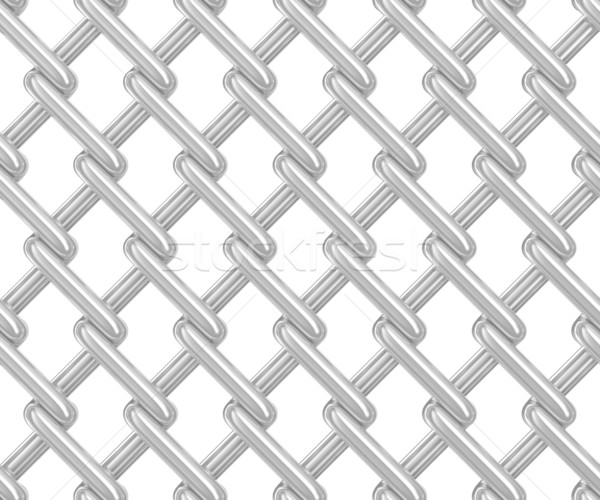 Seamless chainlink fence on white. Isolated 3D image Stock photo © ISerg