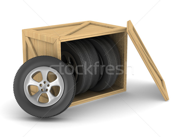 Disco ruote finestra bianco isolato 3D Foto d'archivio © ISerg