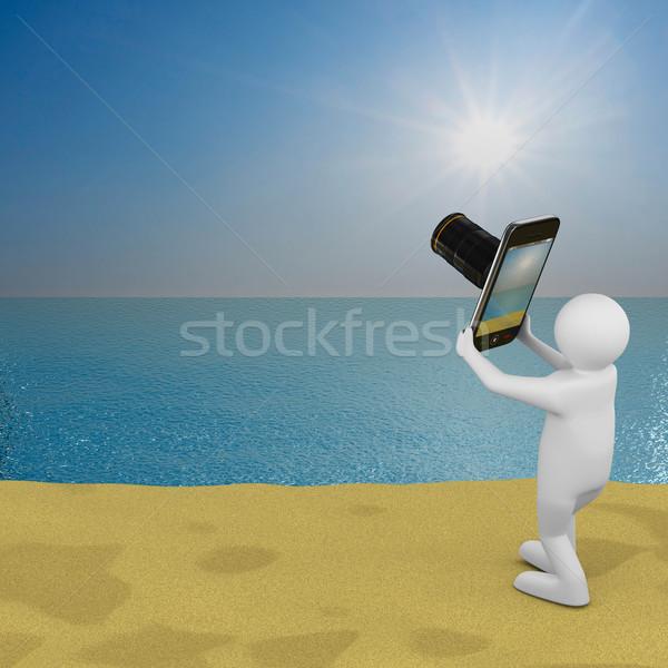 Mężczyzn zdjęcia morza krajobraz odizolowany 3D Zdjęcia stock © ISerg