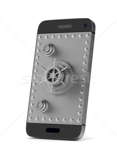 Védelem telefon fehér izolált 3D kép Stock fotó © ISerg