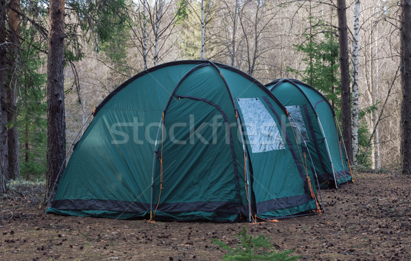 two tents in wood. Tourist rest Stock photo © ISerg