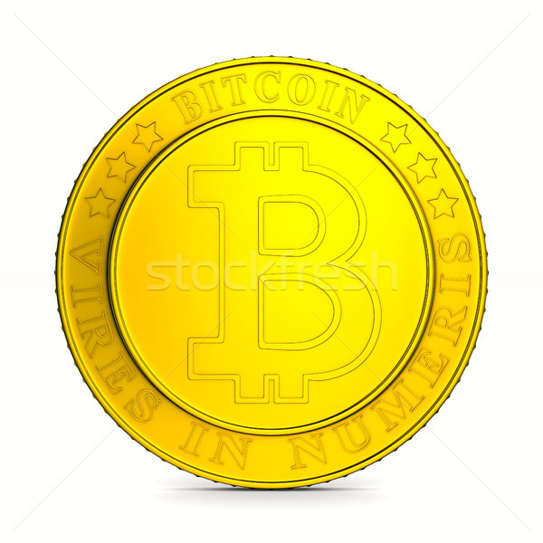 Stock photo: coin bitcoin on white background. Isolated 3D illustration