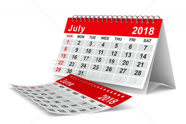 2018 year calendar. July. Isolated 3D illustration Stock photo © ISerg