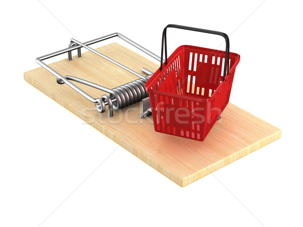 mousetrap with shopping basket on white background. Isolated 3D  Stock photo © ISerg