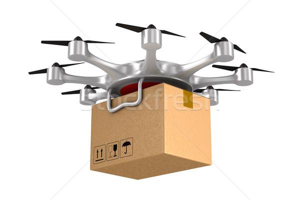 octocopter with cargo box on white background. Isolated 3d illus Stock photo © ISerg