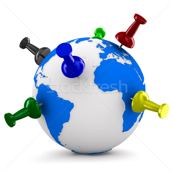 multicolor thumbtacks on globe. Isolated 3D image Stock photo © ISerg