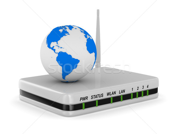 router on white background. Isolated 3D image Stock photo © ISerg
