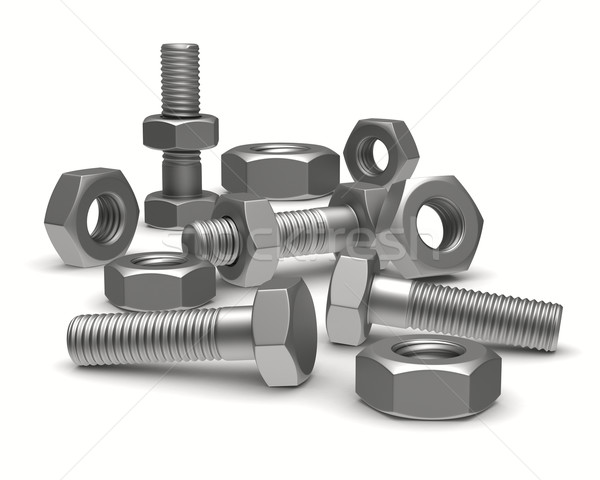 Bolts and nuts on white background. Isolated 3D image Stock photo © ISerg