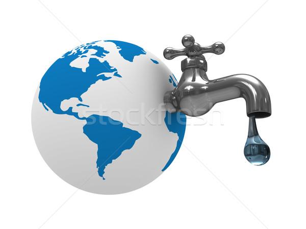 Stock foto: Wasser · Erde · isoliert · 3D · Bild · Business