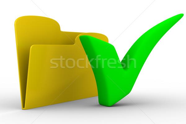 Foto stock: Amarelo · computador · dobrador · branco · isolado · 3D