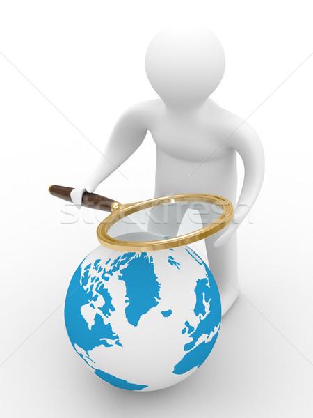 ストックフォト: グローバル · 検索 · 孤立した · 3D · 画像 · 白