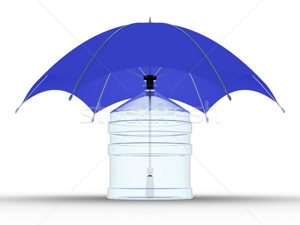 Stok fotoğraf: Cam · şişe · şemsiye · yalıtılmış · 3D · görüntü