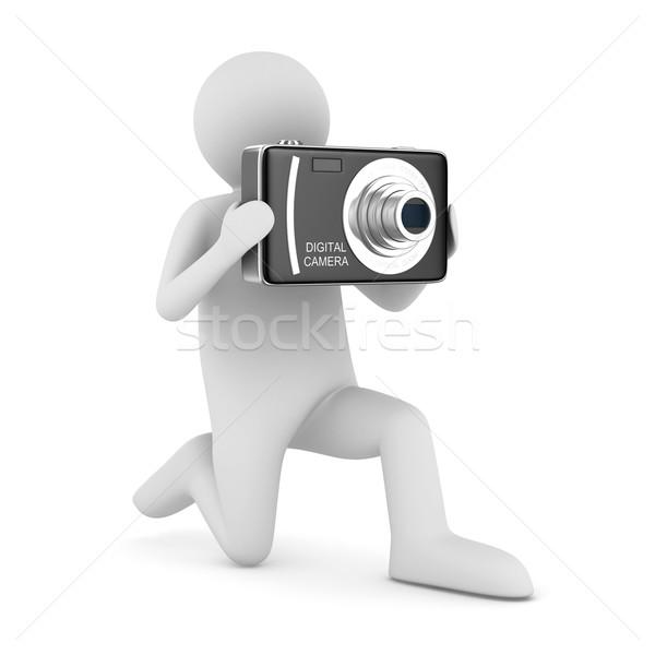 Uomo compatto fotocamera digitale isolato 3D immagine Foto d'archivio © ISerg