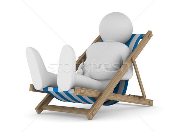 Ligstoel witte geïsoleerd 3D afbeelding man Stockfoto © ISerg