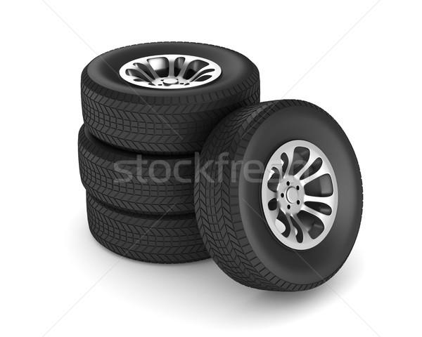 wheel on white background. Isolated 3D illustration Stock photo © ISerg