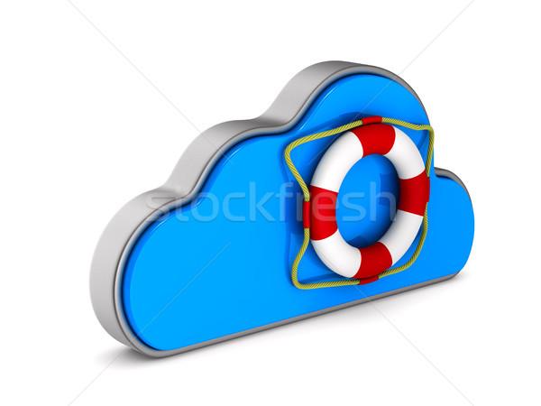 Cloud and lifebuoy on white background. Isolated 3D illustration Stock photo © ISerg
