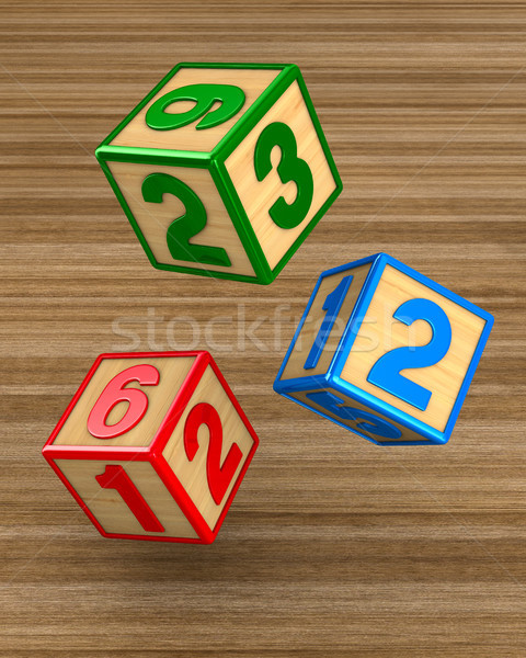 falling blocks with numbers. 3D illustration Stock photo © ISerg