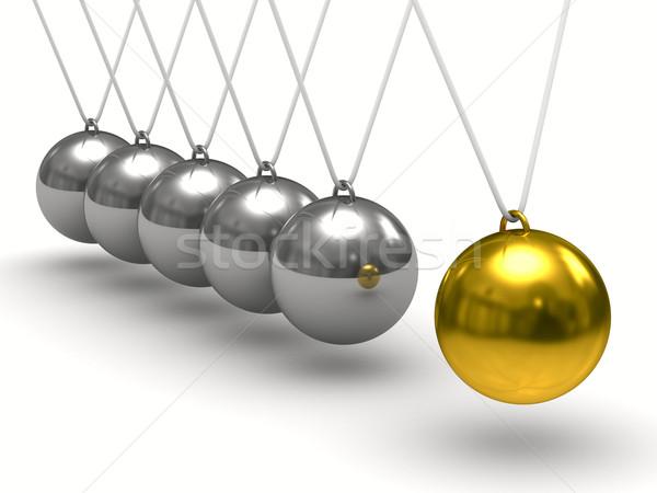 Egyensúlyoz golyók fehér izolált 3D kép Stock fotó © ISerg