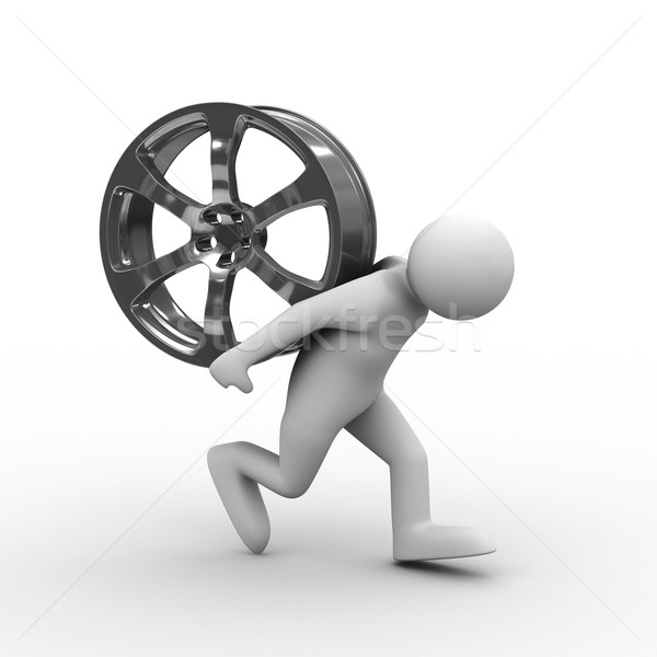 men carry wheel disk on back. Isolated 3D image Stock photo © ISerg