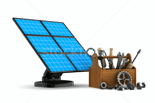 solar battery on white background. Isolated 3d image Stock photo © ISerg