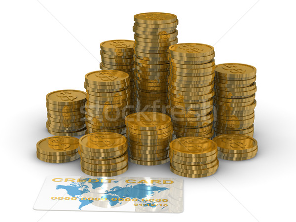 Column of golden coins isolated on white. 3D image Stock photo © ISerg