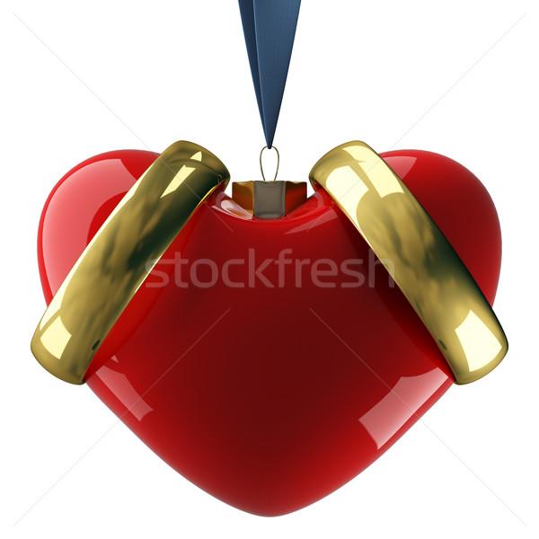 Stock fotó: Szív · akasztás · szalag · 3D · kép · szeretet