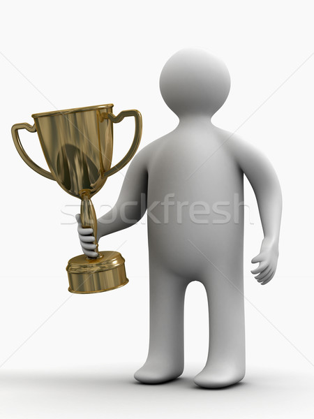 champion with a cup. Isolated 3D image. Stock photo © ISerg