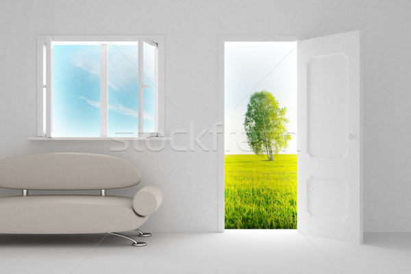 Foto stock: Paisagem · atrás · abrir · a · porta · janela · 3D · imagem