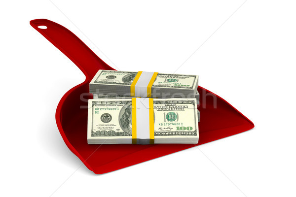 Stock photo: red dustpan with money on white background. Isolated 3D illustra