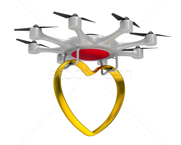 octocopter with gold heart on white background. Isolated 3d illu Stock photo © ISerg