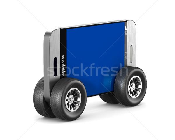 phone with wheels on white background. Isolated 3D illustration Stock photo © ISerg