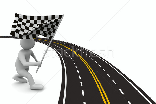 asphalted road on white. Isolated 3D image Stock photo © ISerg