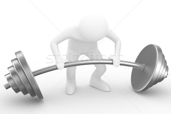 weight-lifter lifts barbell on white. Isolated 3D image Stock photo © ISerg