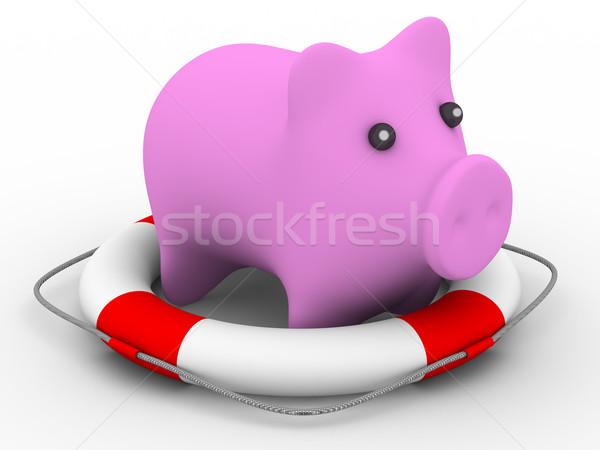 спасательные розовый свинья изолированный 3D изображение Сток-фото © ISerg