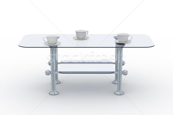 Foto stock: Vidro · pequeno · tabela · branco · 3D · imagem