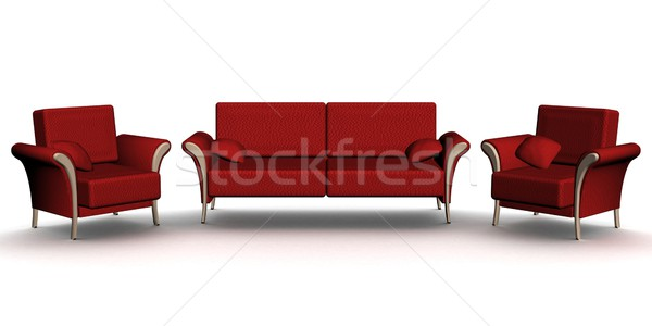 Stock photo: Red leather sofa and two armchairs. An interior. 3D image.