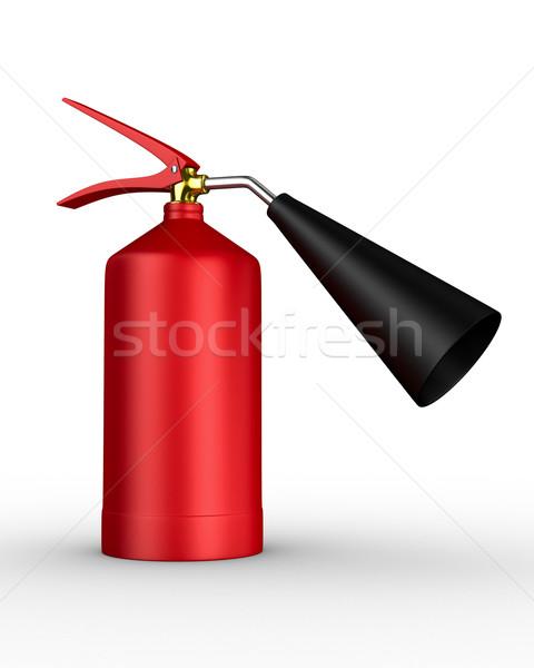 Tűzoltó készülék fehér izolált 3D kép szolgáltatás Stock fotó © ISerg
