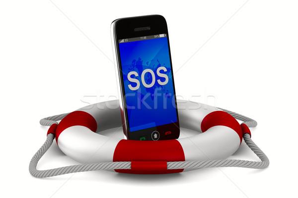 Telefoon witte geïsoleerd 3D afbeelding technologie Stockfoto © ISerg