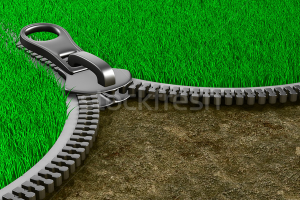 Zipper with grass and ground. Isolated 3D image Stock photo © ISerg