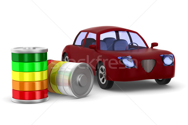 Rouge voiture blanche isolé 3d illustration technologie Photo stock © ISerg