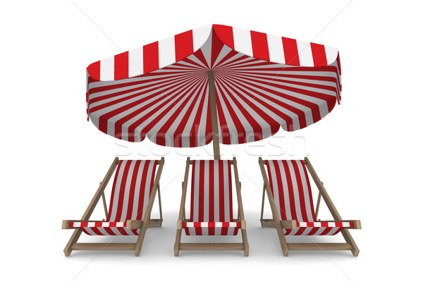 Three deckchair and parasol on white background. Isolated 3D ima Stock photo © ISerg