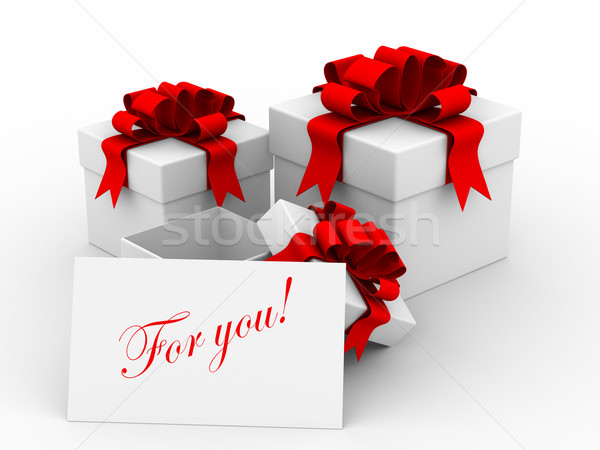 White gift boxs with a card. 3D image Stock photo © ISerg