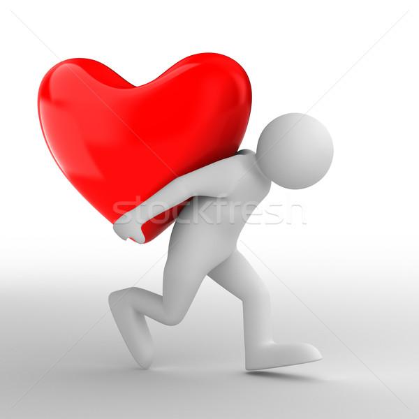 мужчин сердце назад изолированный 3D Сток-фото © ISerg