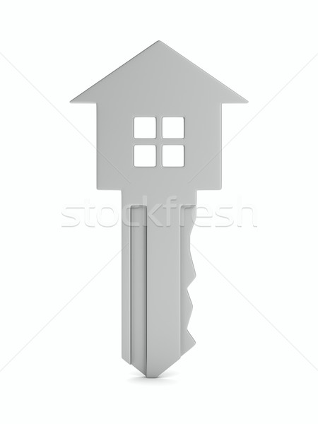 Isolato chiave bianco 3D immagine home Foto d'archivio © ISerg