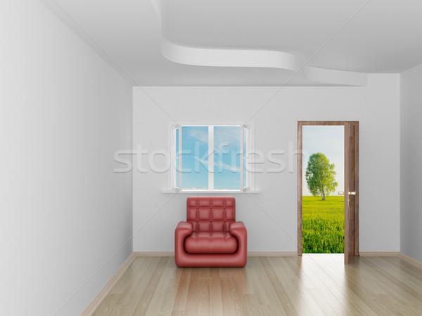 Lege kamer landschap achter Open deur 3D afbeelding Stockfoto © ISerg
