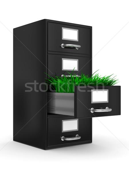 Faliszekrény fehér izolált 3D kép fű Stock fotó © ISerg