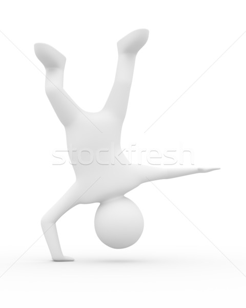 ストックフォト: 男 · 逆立ち · 白 · 孤立した · 3D · 画像
