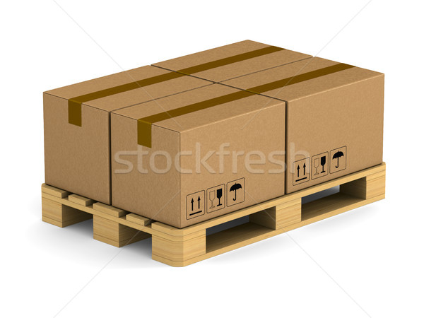 wooden pallet with cargo box on white background. Isolated 3D il Stock photo © ISerg